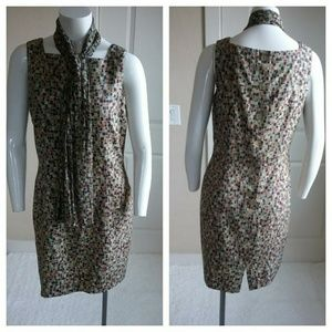 Ann Taylor Stained Glass Print Silk Dress & Scarf